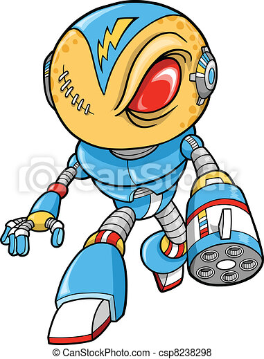Robotic Warrior Vector Illustration - csp8238298