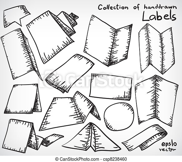 Vector Clipart of Handdrawn brochure set - Collection of doodled ...
