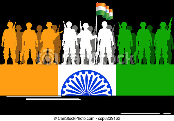 Vector - Soldier forming Indian Flag - stock illustration  royalty    Indian Army Soldier With Flag