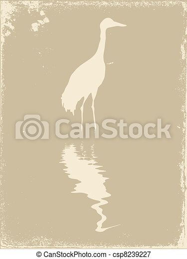 crane silhouette on old paper, vector illustration - csp8239227