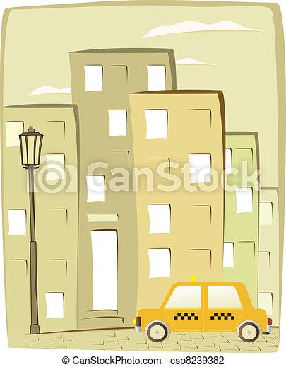 taxi, ciudad, caricatura, plano de fondo - csp8239382