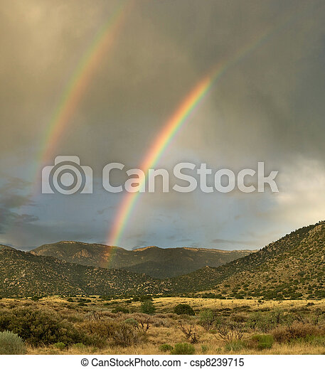 Double Rainbow in desert - csp8239715