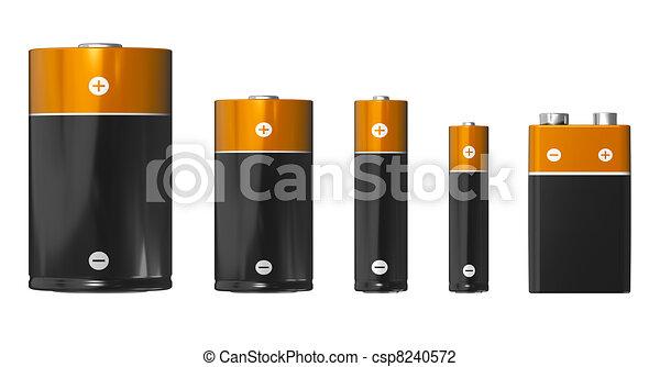 clip art de batteries diff rent aaa tailles aa c d pp3 9v csp8240572. Black Bedroom Furniture Sets. Home Design Ideas