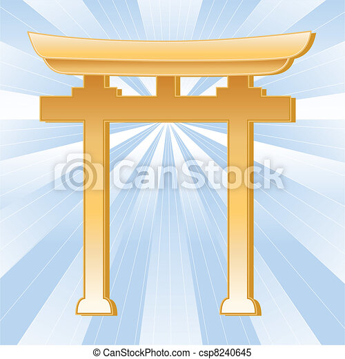 Shinto Symbol, Golden Torii Gate  - csp8240645
