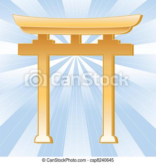 Shinto Symbol, Golden Torii Gate  - csp8240645