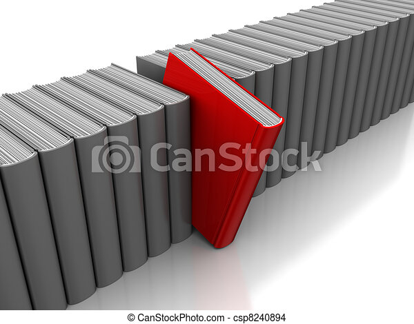 Bücherreihe clipart  Zeichnung von auswahl, buch - 3d, abbildung, von, graue , buecher ...