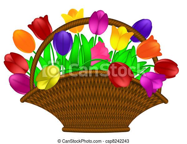 Basket of Colorful Tulips Flowers Illustration - csp8242243