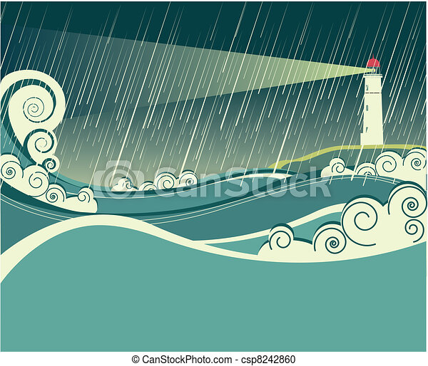 lighthouse and ocean in storm night - csp8242860