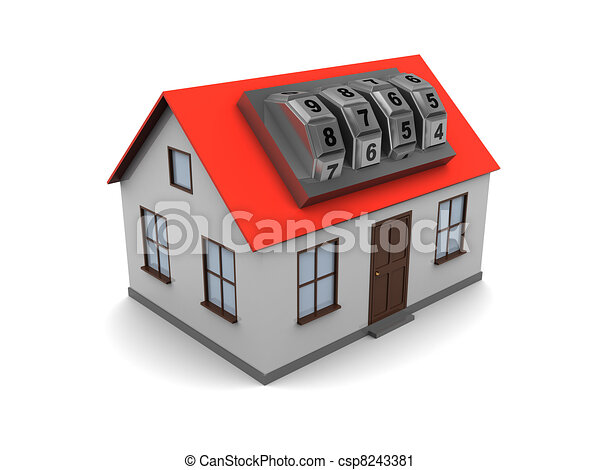 house with combination lock - csp8243381