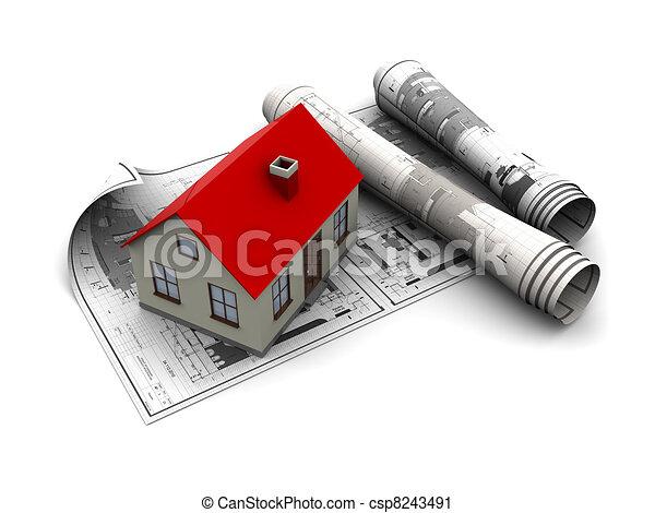 clipart von haus bauplaene 3d abbildung von bauplaene und haus csp8243491 suchen. Black Bedroom Furniture Sets. Home Design Ideas