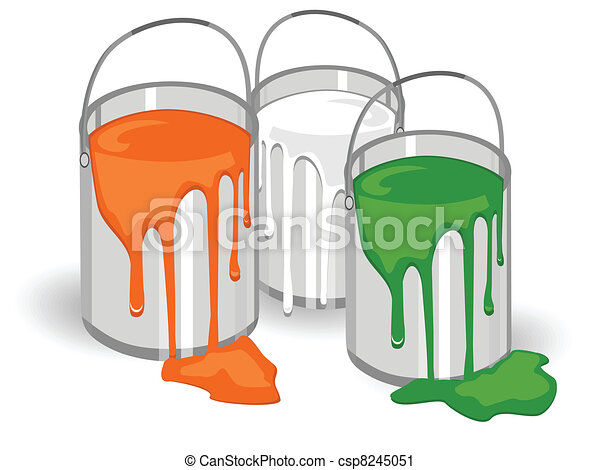 A vector illustration of three baskets full of paints in an Indian trio color on isolated background for Republic and Independence Day and Republic Day. - csp8245051