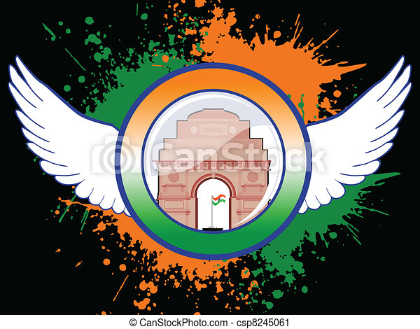 A sign of Indian emblem on colorful grunge showing freedom with wings and India Gate on black background for Republic and Independence Day. - csp8245061