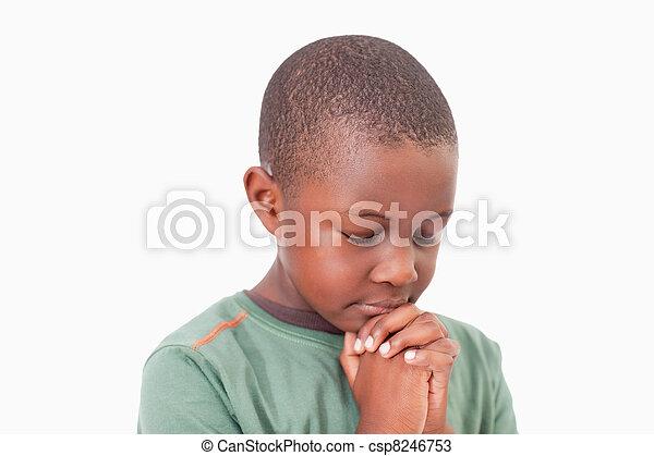 Calm boy praying - csp8246753