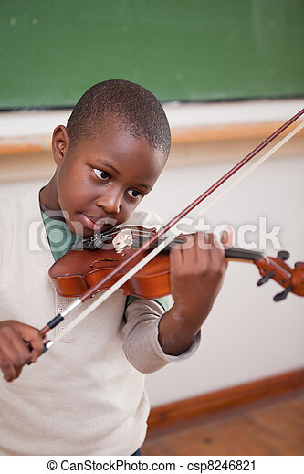 Portrait of a schoolboy playing the violin - csp8246821