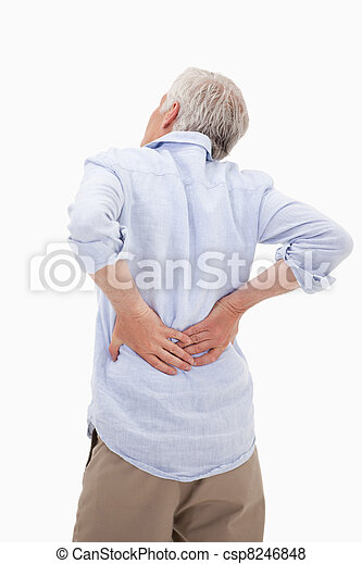 Portrait of a man having a back pain - csp8246848