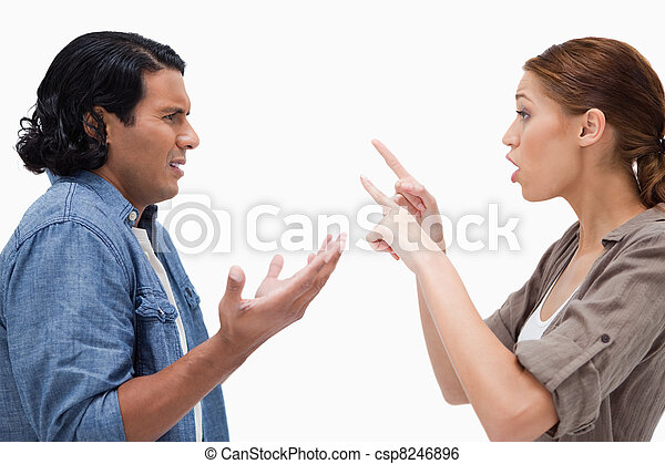 Side view of arguing couple - csp8246896