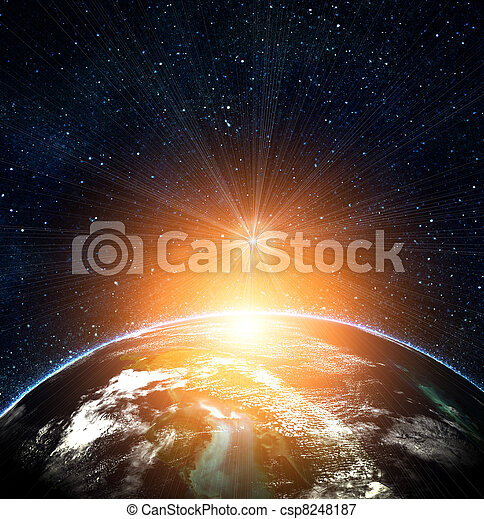 blue earth in space with rising sun - csp8248187