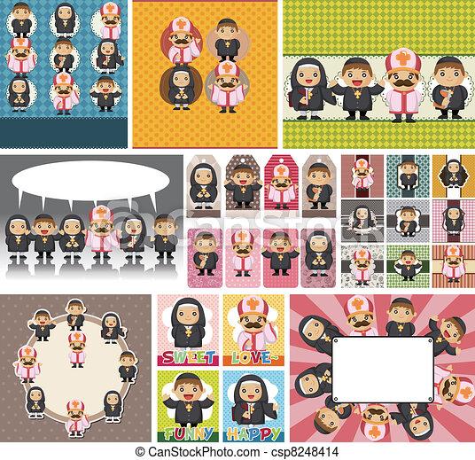 cartoon Priest and nun card - csp8248414