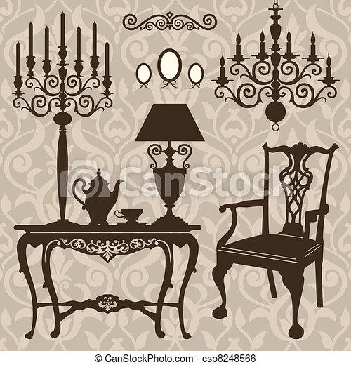 Set of antique furniture - csp8248566