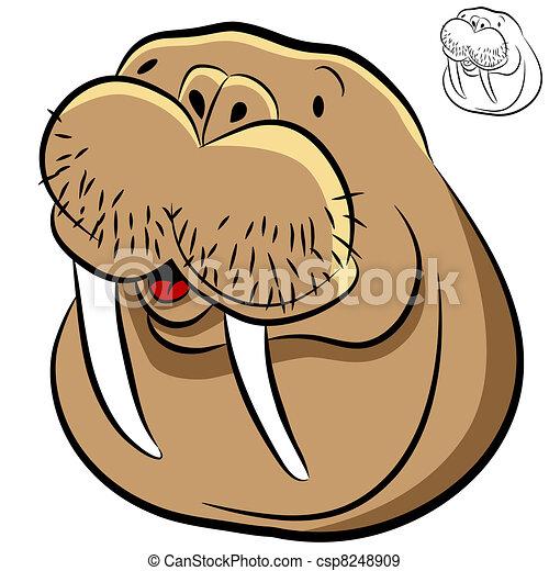 Walrus Face - csp8248909