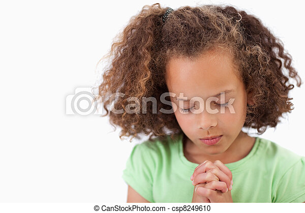 Cute girl praying - csp8249610