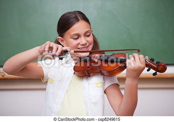 Schoolgirl playing the violin - csp8249615