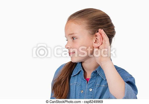 Cute girl pricking up her ear - csp8249969