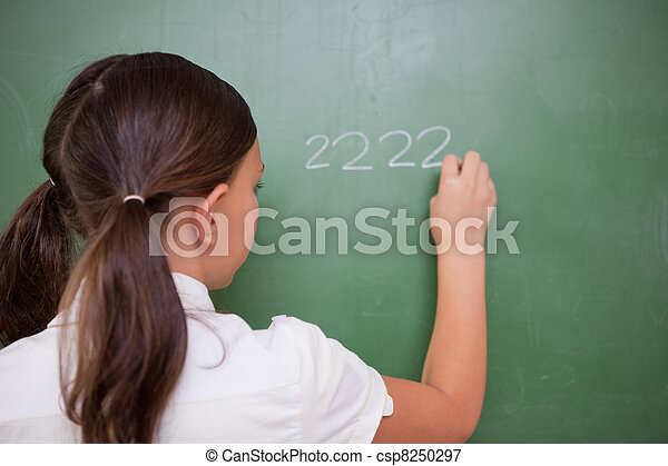 Girl writing numbers - csp8250297