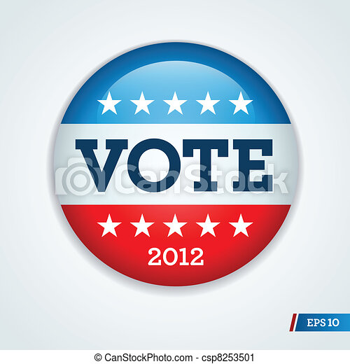 Election campaign button 2012 - csp8253501