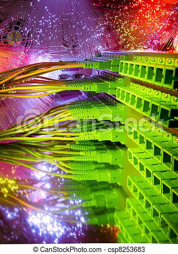optic fiber cables connected - csp8253683
