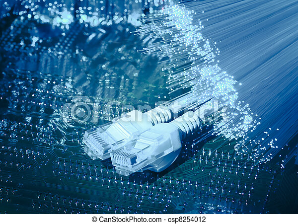 fiber, optisk, abstrakt, bakgrund,  Internet, teknologi - csp8254012