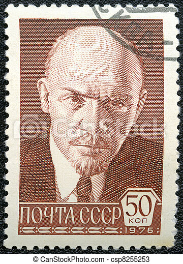 USSR - CIRCA 1976: A Stamp printed in USSR shows Vladimir Ilyich Lenin, Russian revolutionary, Bolshevik leader, circa 1976 - csp8255253