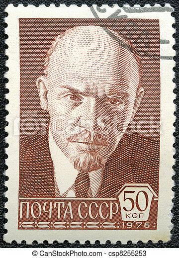 USSR - CIRCA 1976: A Stamp printed in USSR shows Vladimir Ilyich Lenin, Russian revolutionary, Bolshevik leader, circa 1976 - csp8255253