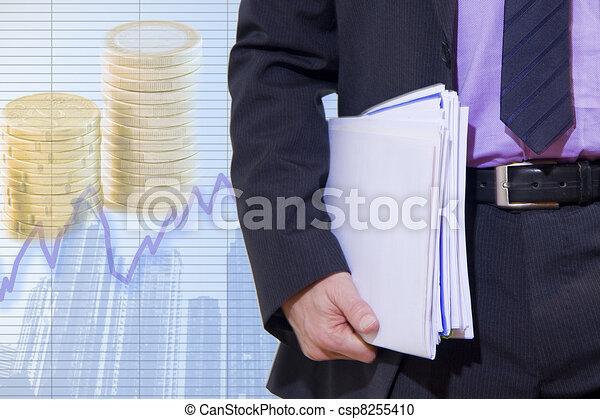 businessman in the current economic - csp8255410