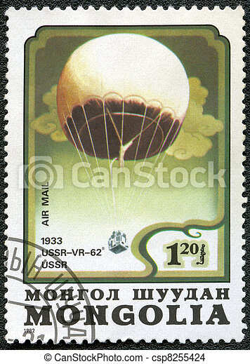"MONGOLIA - CIRCA 1982: A stamp printed in Mongolia shows stratosphere balloon ""USSR-VR-62"" USSR 1933, series, circa 1982 - csp8255424"