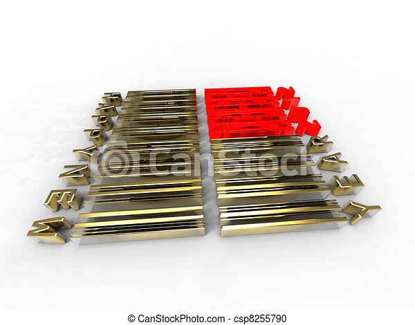 3d illustration of translation new year in barcode on white background - csp8255790