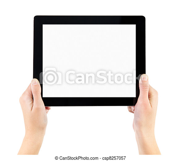Holding Electronic Tablet PC In Hands - csp8257057