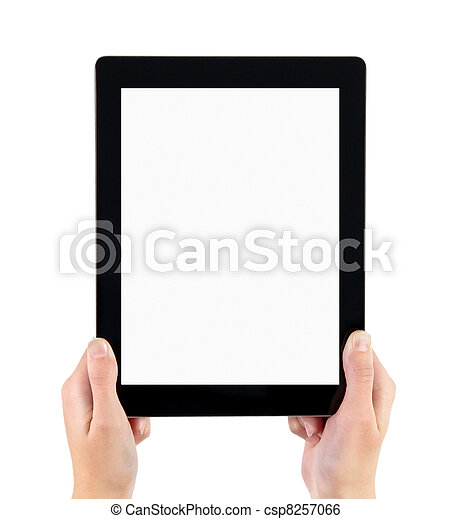 Holding Electronic Tablet PC In Hands - csp8257066