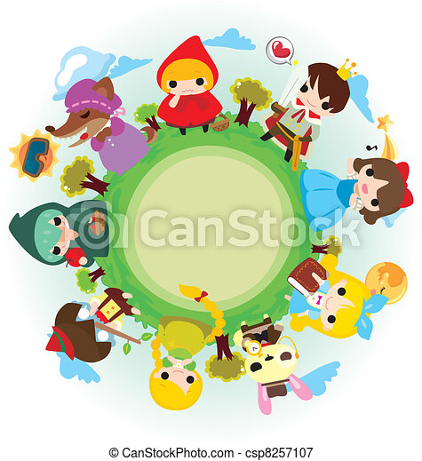 cartoon story people around world - csp8257107