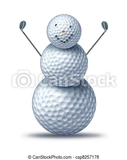 Winter golfing - csp8257178