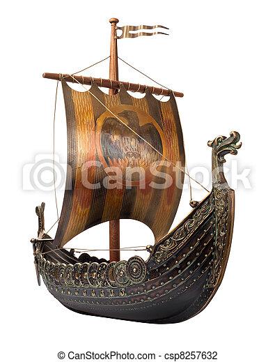 Antique Viking Ship isolated on white - csp8257632