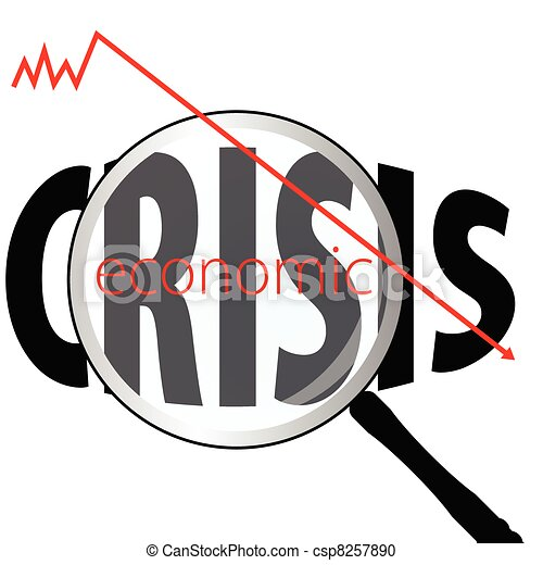 illustration of economic crises with magnifying glass - csp8257890