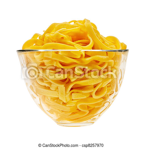 Cooked italian pasta in glass transparent bowl isolated over white background. - csp8257970