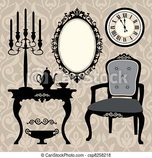 Set of antique furniture and object - csp8258218