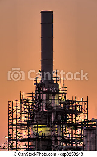 Industrial chimney, early morning - csp8258248