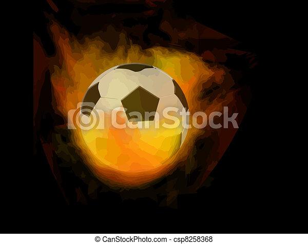 Soccer ball on fire - csp8258368