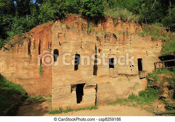 Chamber tombs excavated in the rock, Archeological park of Baratti and Populonia. Tuscany - Italy - csp8259186