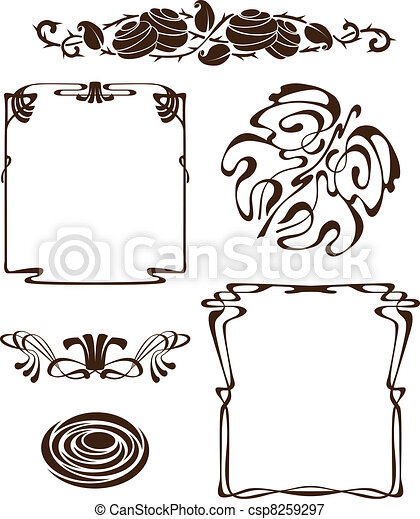 art nouveau design elements - csp8259297