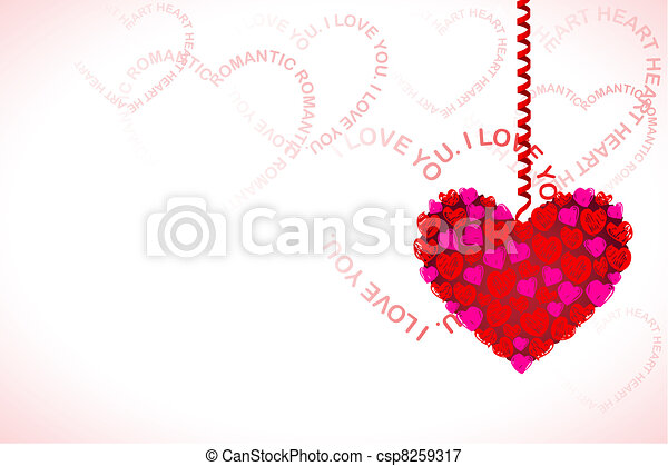 Hanging Heart on Love Card - csp8259317