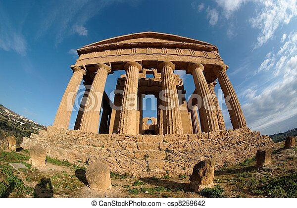 Fisheye view of Concordia temple in Agrigento, Sicily, Italy - csp8259642